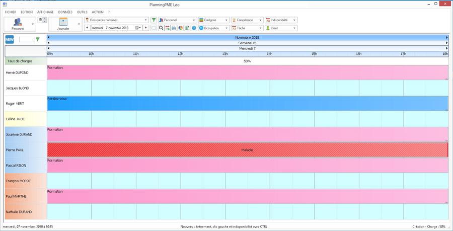 Planning horaire semaine