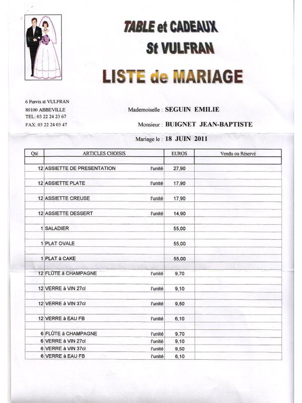 Liste photo mariage