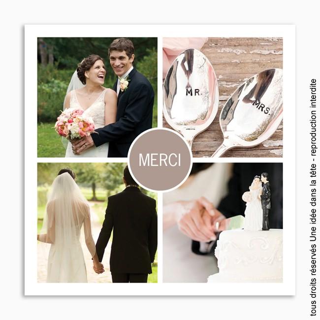 Faire part de remerciement mariage
